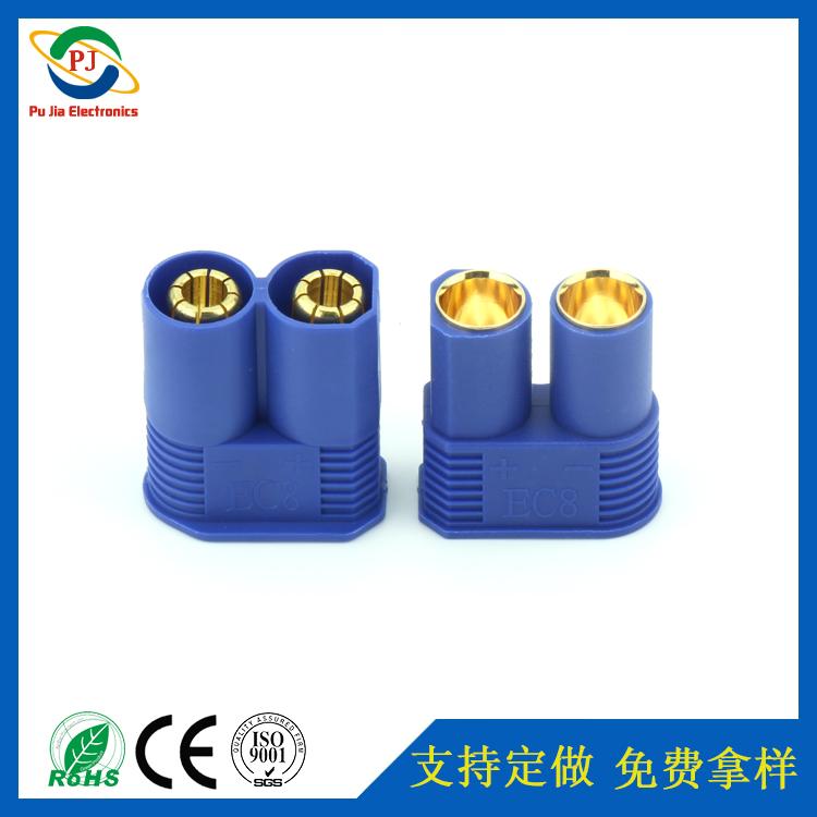 PJS3020 EC8镀金插头汽车电池公母香蕉插头